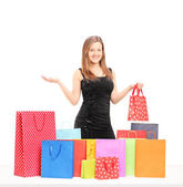 Female with shopping bags — Stok fotoğraf