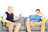 Father reprimending his son — Stock Photo