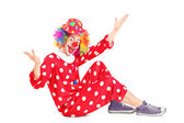 Happy clown sitting down — Foto Stock