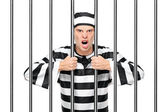 Agitated prisoner in jail — Stock Photo