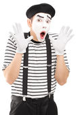 Male mime with hands excitement — Foto Stock