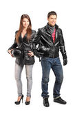 Two motorcyclers in leather jack — Stock Photo