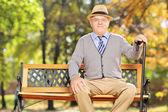 Relaxed senior gentleman in park — Stock Photo