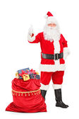 Santa Claus giving thumb up — Foto de Stock