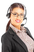Female customer support with headphones — Stock Photo