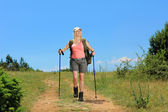 Woman with hiking poles — Stock Photo