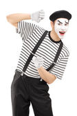 Male mime artist gesturing — Stock Photo
