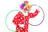 Clown holding two hula hoops — Stock Photo