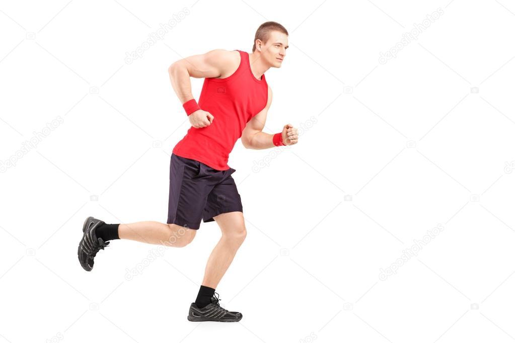 肌肉男运动员运行 — 图库照片