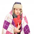 Sick man covered with blanket — Stock Photo