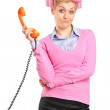 Woman holding retro telephone tube — Stock Photo #45891331