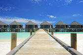Water villas resort on a Maldives — Foto Stock