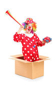 Clown coming out of box — Stock Photo
