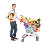 Mann-betrieb-einkaufstasche — Stockfoto