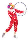 Male clown holding a hula hoop  — Stock Photo