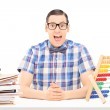 Man with abacus and documents — Stock Photo