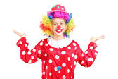 Female clown gesturing with hands — Stock Photo