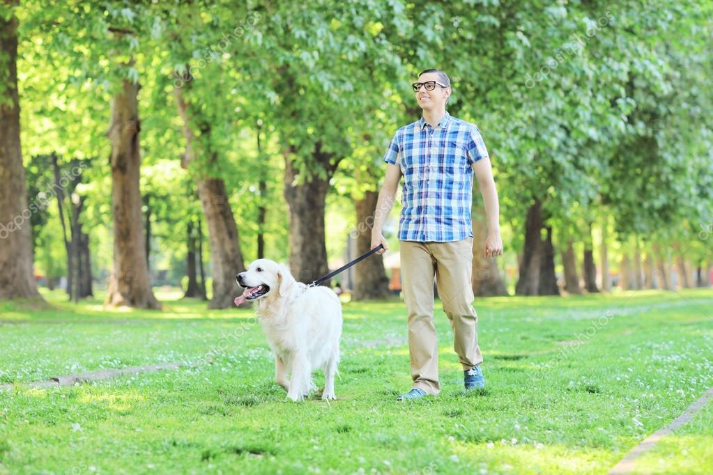 Man Walking Dog : Homem cão andando no parque — fotografias de stock
