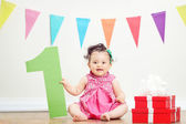 Girl on birthday party — Stock Photo