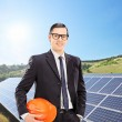 Engineer with solar panels — Stock Photo #49749017