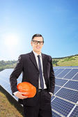Engineer with solar panels — Stock Photo