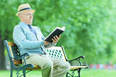 Senior gentleman reading book — Stock Photo