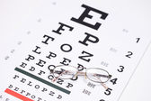 Glasses on eyesight test — 图库照片