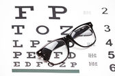Glasses on eye chart — Stock Photo