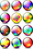 Rainbow Glossy Ball Set — Stock Vector