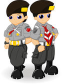 Cute Indonesian Police Scout Cartoon — Stock Vector