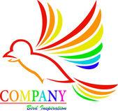 Rainbow Bird Art Symbol — Stock Vector