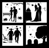 True Love Until Death Silhouette — Stock Vector
