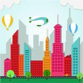 Colorful Applique City Landscape — Stock Vector