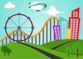 Park And Metro City Applique Landscape — Stock Vector