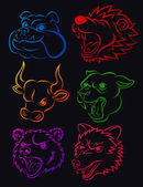 Vicious Wild Animal Head Tatto Set — Stock Vector
