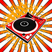 Illustration of red Dj turntable — Stock Vector