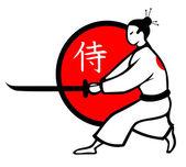 Illustration of vector samurai — Stock Vector
