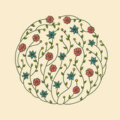 Illustration of flowers vignette — Stock Vector