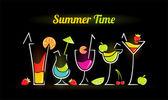 Illustrazione della composizione estiva con cocktail — Vettoriale Stock