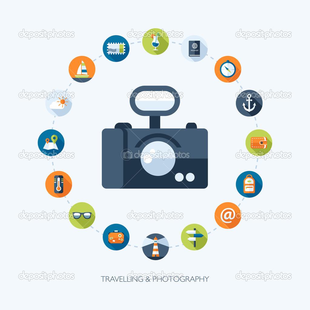 相机矢量旅行平面设计作品的插图