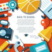 Vector school flat design flyer template — Vector de stock