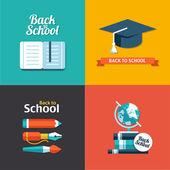 Vector school flat design flyers templates — Vector de stock