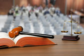 Mallet, legal code and scales of justice — Stock Photo