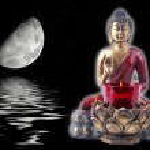 Buddha with a moon — Stock Photo
