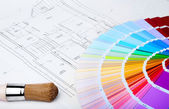 Color chart and brush — Stock Photo