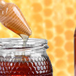 Two jars of honey, and wooden drizzler — Stock Photo #45997265