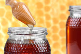 Two jars of honey, and wooden drizzler — Stock Photo