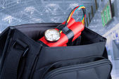 Time bomb in a backpack — Stock Photo