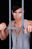 Young  man in prison — Stock Photo