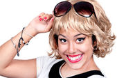 Blond woman with vintage sunglasses — Stok fotoğraf